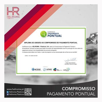 Heliroma-Plásticos S.A. recibe el diploma de adhesión al compromiso de pago puntual