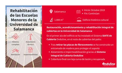 Onduline en la rehabilitación energética de las cubiertas de las escuelas menores del patio de la Universidad de Salamanca